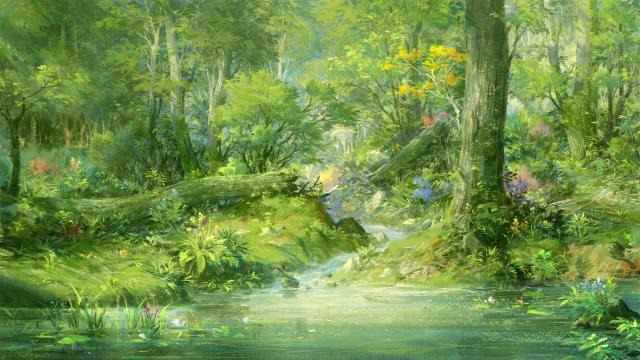 小清新森林美景手绘插画