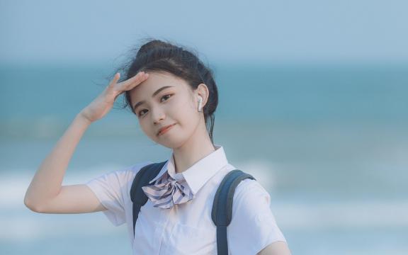日系元氣少女海邊唯美可愛門生禮服寫真
