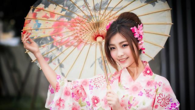 知性文雅的日本和服玉人