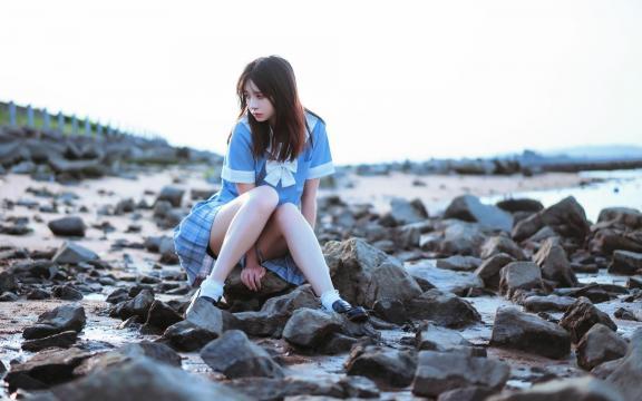 純潔學生妹jk禮服唯美海邊可愛寫真