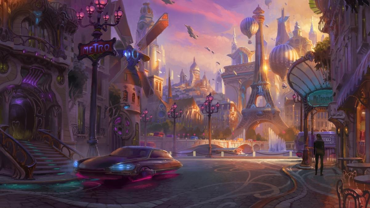 赛博朋克 幻想艺术 城市 汽车 未来主义 4k壁纸